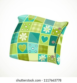 Soft pillow in a patterned pillowcase object isolated on a white background