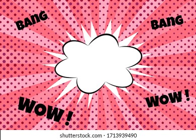 soft pink colorful pop art polka dot speech bubble text box, cloud bang explosion with radial rays stripes blank ads, sale, discount graphic element banner background emotional comic style gentle