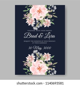 Soft pink Peony wedding invitation vector printable template autumn background