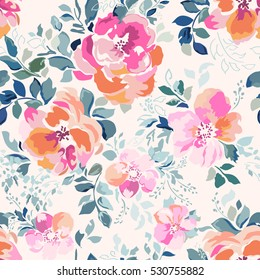 soft pink watercolor flower print ~ seamless background