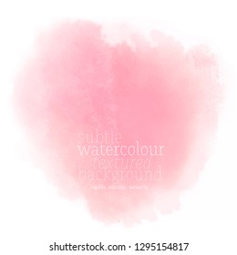 soft pink watercolor splash. abstract vector textured gradient on white background. eps 8