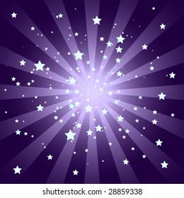 Soft Purple Starburst with Stars