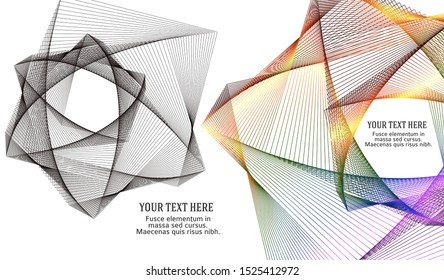 Soft rainbow color. Linear background. Design elements. Poligonal lines. Guilloche. The protective layer for banknotes, diplomas and certificates template. Vector illustration EPS 10