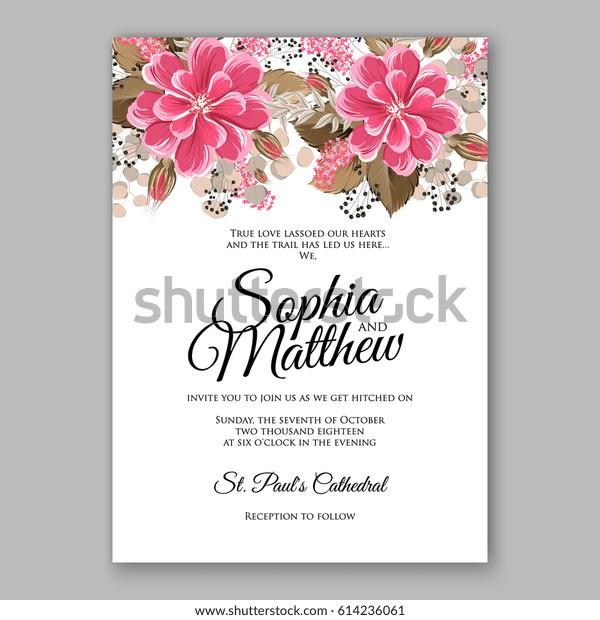 graphic regarding Printable Invitation Card Stock named Comfortable Crimson Dahlia Marriage Invitation Card Inventory Vector