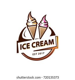 soft serve ice cream logo, circular ice cream logo, illustration design, isolated on white background.