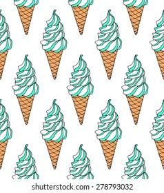 Soft serve ice cream. Swirl ice cream inside the waffle cone with sweet dressing