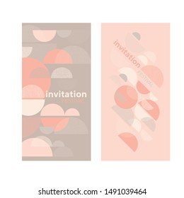 Soft shades of rose colors geometric design element for card, header, invitation, poster, social media, post publication. Disco retro vibes poster template.