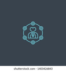 Soft skills concept blue line icon. Simple thin element on dark background. Soft skills concept outline symbol design. Can be used for web and mobile UI/UX