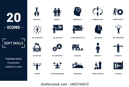 Soft Skills icons set collection. Includes simple elements such as Team Spirit, Empathy, Personality, Communication, Assertiveness, Collaboration and Coaching premium icons.