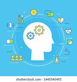 Soft Skills and Multiple Intelligences Concept Illustration. Flat Vector Design
