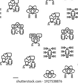 Soft Skills People Vector Seamless Pattern Thin Line Illustration