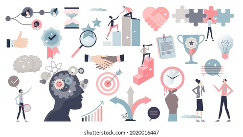 Soft skills set with ability or competence for career outline collection. Items with leader characteristics and abilities vector illustration. Creativity and adaptability as professional advantages.