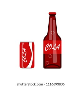 Soft soda and cola in aluminum can isolated on white background. Bottle of juice, coctail. Cold drinks icon. Vector flat illustration