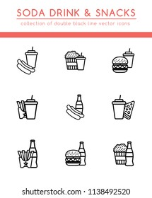 Soft soda drink and different fast food for a quick snack. Collection of 9 double icons of takeaway food and drinks.  Isolated pictograms in flat style with black line for web and print design