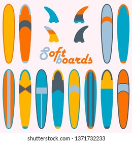 Soft surf boards and fins isolated elements set. Various design longboards colorful flat vector illustration