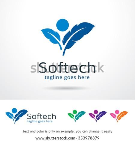 soft technology logo template design vector stock vector royalty