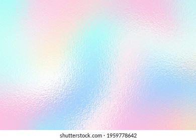 Soft texture foil. Background in pastel color. Iridescent gradient. Light pink and blue colours. Metal dreamy effect. Gentle surface. Delicate backdrop for design prints. Metallic pattern. Vector