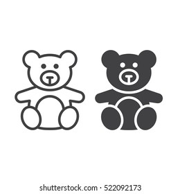 Soft toy, Teddy bear line icon, outline and filled vector sign, linear and full pictogram isolated on white, logo illustration