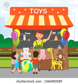 Soft Toys Store, Shop Flat Vector Illustration. Cheerful Saleswoman and Little Children Cartoon Characters. Happy Woman Selling Kids Soft Toys. Kiosk with Balloons in Park, Carnival Goods