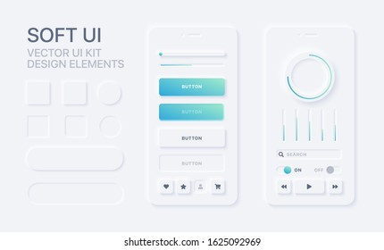 Soft UI design kit. Trendy user interface design elements. Modern application mockup. 10 EPS vector illustration.