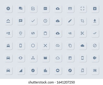 Soft UI icon resources. Trendy neomorphic material design flat icons collection. cloud backup, car transport, upload/download, cut, trim, media, editor etc. filled icons for web and mobile apps