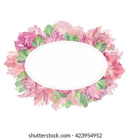 Soft Vector Oval Floral Frame   Beautiful card template with shabby chic peony, lily and lotus flowers with watercolor transparent effect for greeting and wedding design
