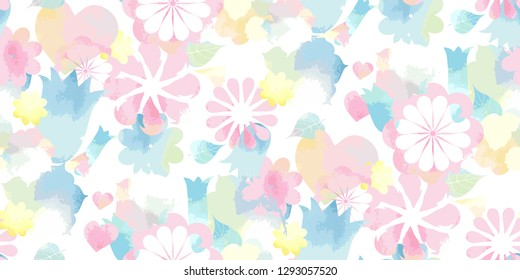 Soft watercolor floral print - seamless background. Endless pattern with pink blue yellow flowers. Vector Stylish illustration for Saint Valentine's Day, children - babies and spring design.