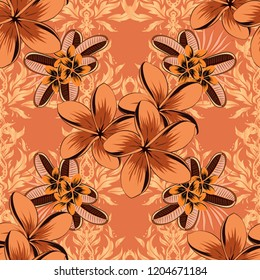 Soft watercolor plumeria flower print ~ seamless pattern in brown, orange and beige colors. Vector illustration.