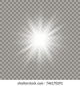 Soft white shining star with transparent rays. Glowing explosion light effect.