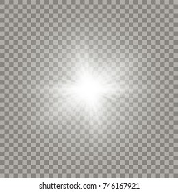 Soft white shining sun with transparent beams. New star explosion light effect.
