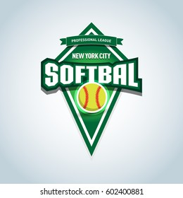 Softbal logo / emblem template. Vector softbal league logo with ball. Sport badge for tournament championship or league. Isolated vector illustration.