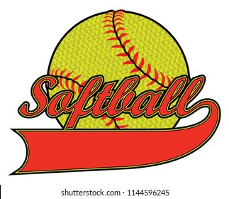 Softball With Banner and Textured Ball is an illustration of a softball design including a banner for your name or your team name. Can be used by you or your team for t-shirts, flyers, ads, jerseys or