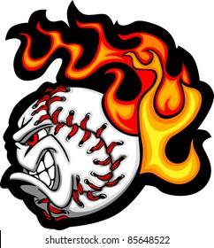 Softball or Baseball Face Flaming Vector Cartoon