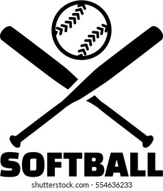 Softball with crossed bats and ball