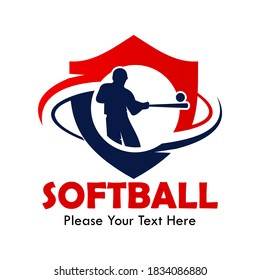 Softball design logo template illustration