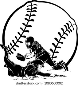 Softball highlighted silhouette of a female runner sliding home under the catchers tag with a stylized softball in the background.