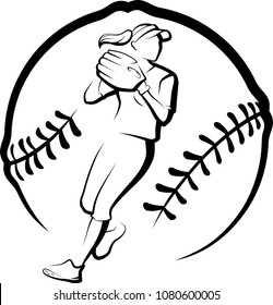 Softball player getting ready to throw in a stylized ball.
