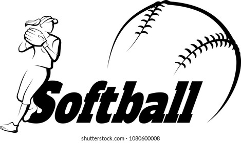 Softball player throwing with softball text & a stylized ball.