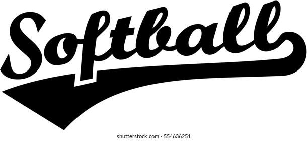 Softball retro word