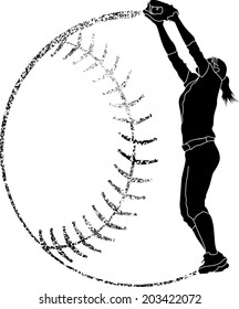 Softball silhouette of a fielder catching in with grunge softball background.