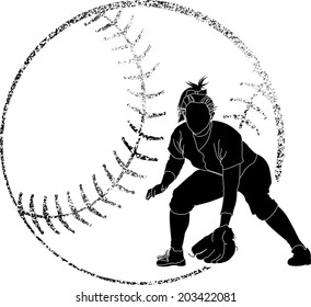 Softball silhouette of a fielder in with grunge softball background.