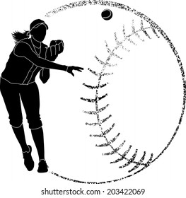 Softball silhouette of a fielder throwing in with grunge softball backgrounds.