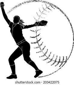 Softball silhouette of a softball pitcher in with grunge softball background.