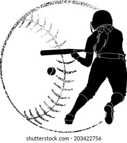 Softball silhouette of a softball player bunting in with grunge softball backgrounds.