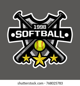 Softball Sports logo, Softball badge, Softball team logo