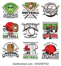 Softball tournament, sport game vector icons. Balls, bats and stadium play field, pitcher player helmet and scoreboard. Catcher glove, softball club sporting items emblems, winner series labels set