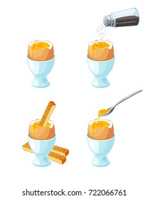 Soft-boiled egg in eggshell in egg holder. Toast soldiers. Pepper shaker pouring ground pepper. Metal spoon with liquid yolk. Vector illustration cartoon flat icon set isolated on white.