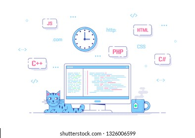 Software and application development concept banner. Computer with code on its screen and programming languages around. Flat style line art illustration.