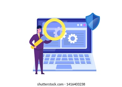 Software or application flat vector concept.  Debugging development process. Vector illustration.
