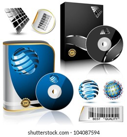 Software box and disc isolated on white background. Vector.
